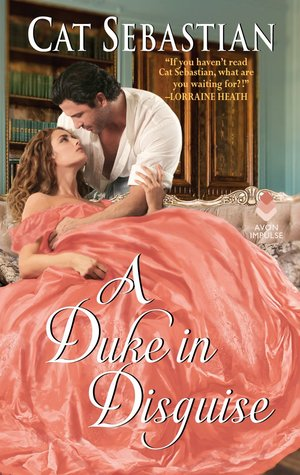 Cover of A Duke in Disguise. A woman in a big poofy dress lounges on a couch. A dark-haired man leans over her from behind.