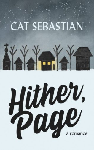Cover shows a snowy village at night, with a couple silhouetted in the lights from a house and another shadowed figure sneaking away.